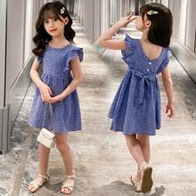 2020 Summer New Dress Fashion Creative  princess Tartan Skirt Kids Cute Simple Bow girls dress