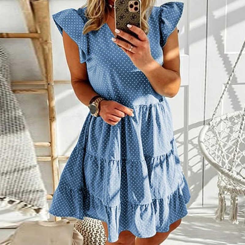 여름 폴카 도트 인쇄 Pleated 라인 드레스 여성 섹시한 V 넥 나비 슬리브 파티 드레스 우아한 캐주얼 비치 드레스 Vestidos