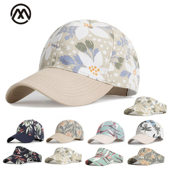 New women's baseball cap solid printed woman hat shade sports hat outdoor stretch cotton baseball cap flowers leaves printed hat