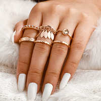 Tocona 6pcs/sets Bohemian Tassel Gold Rings Sets Charming Clear Crystal Stone Geometric Jewelry for Women Accessories 9484