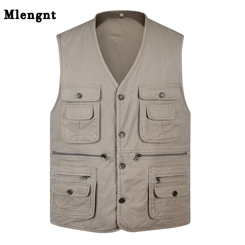 Classic Summer Men Vest Cotton Button Multi Pocket 3 Colors Sleeveless Jacket With Many Pockets Solid Big Size Travel Waistcoat
