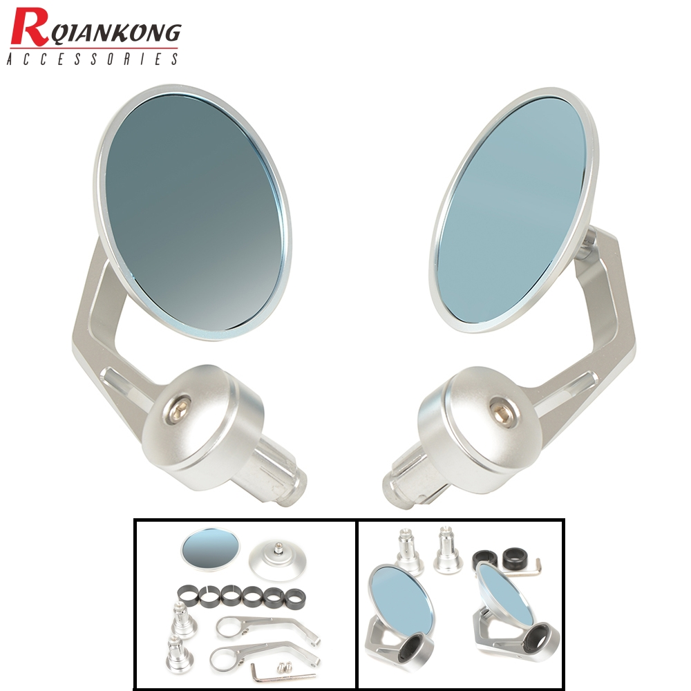 for yamaha ktm bmw suzuki honda Universal Handlebar CNC Aluminum Motocycle Rearview Mirror Moto End Motor Side Blue Glass Mirror