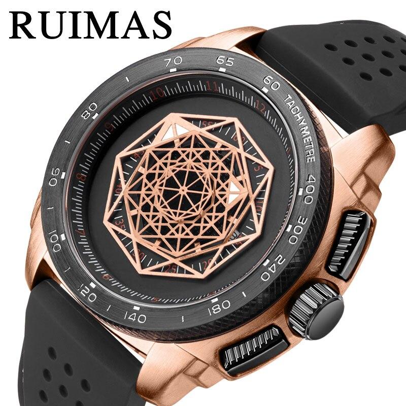 Relógio de Pulso Relógio à Prova Moda Masculino Esporte Ouro Inoxidável Pulseira Silicone Movimento Quartzo Dwaterproof Água Relógio Aço