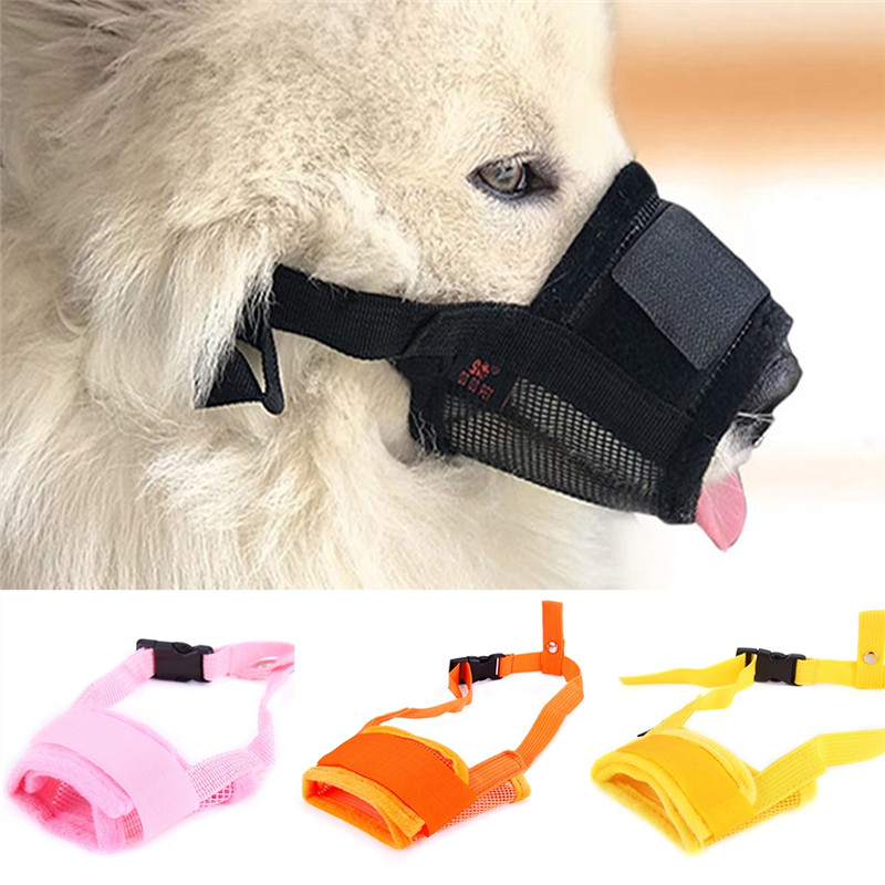 Imixlot Newest 1PC Soft Nylon Material Pet Dog Mouth Mask Mesh Breathable Anti Stop Chewing For Small And Large Dogs
