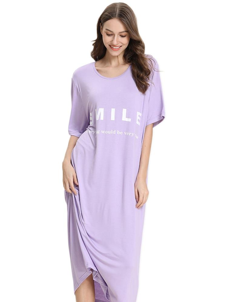 Plus Size Sweet Smile Long Loose Women Sleepwear Night Dress Cozy Modal Loose Short Sleeve Nightgowns For Women