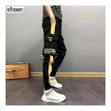 MAZEROUT Streetwear Hip Hop Black Harem Men Elastic Waist Punk Pants With Ribbons Casual Slim Jogger Trousers