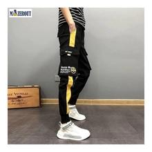 MAZEROUT Streetwear Hip Hop Black Harem Men Elastic Waist Punk Pants With Ribbons Casual Slim Jogger Pants Men Hip Hop Trousers