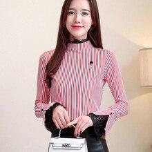 Korean Fashion Chiffon Women Blouses Lace Flare Sleeve Black Women Shirts Plus Size XXL Blusas Femininas Elegante Ladies Tops цена