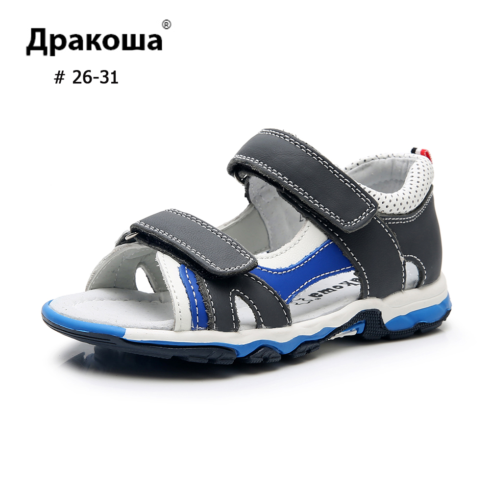 APAKOWA Boys Sandals Genuine Leather 3 Colors Toddler Summer Sandals Double Hook&Loops Open Toe Sweat Beach Kids Shoes