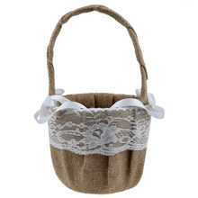 Vintage Retro Lace Bow Wedding Flower Girl Basket(China)