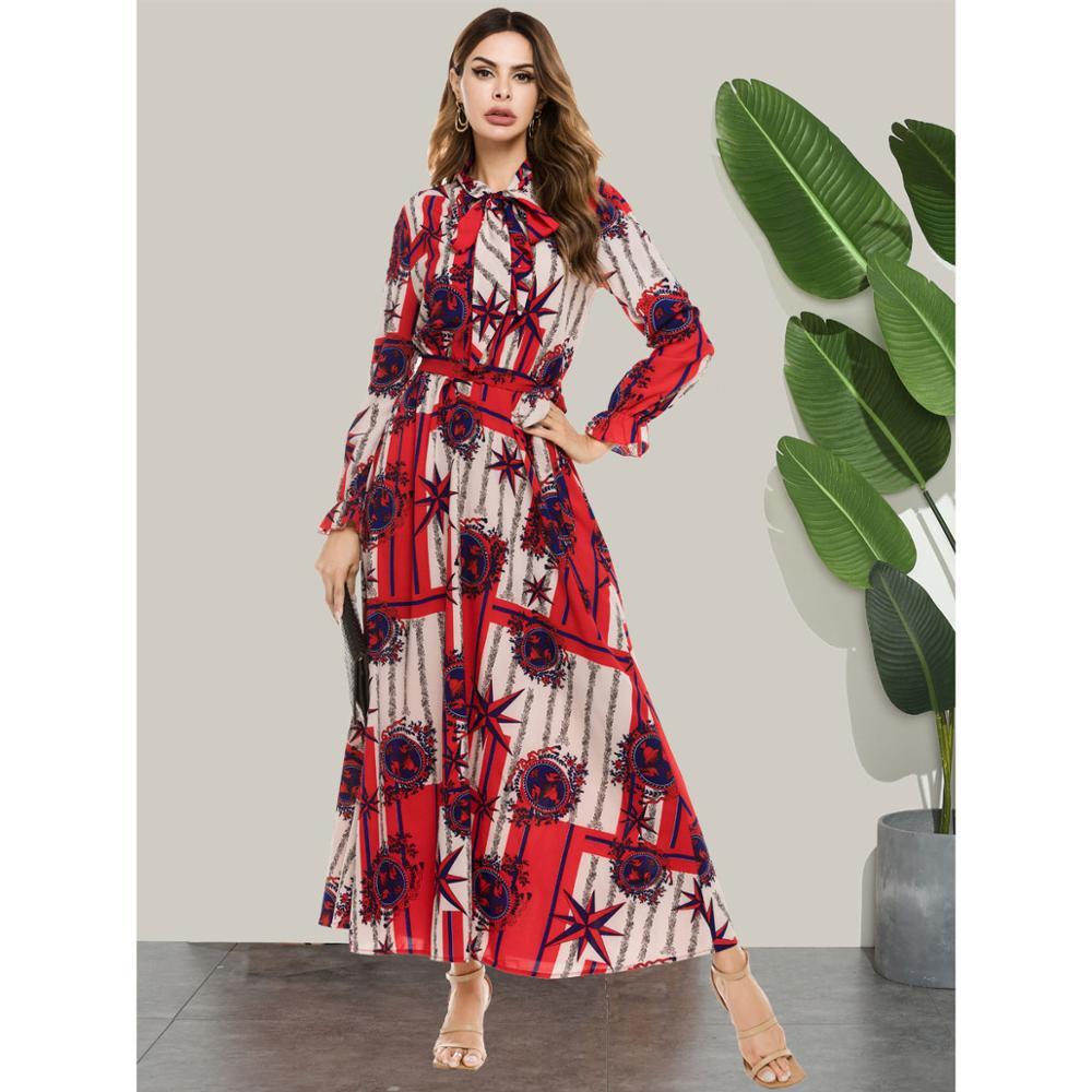 Women Dress Fashion Print Bow Collar Long Sleeve Maxi Dresses kaftan Muslim Arabic abaya ramadan robe garment VKDR2415