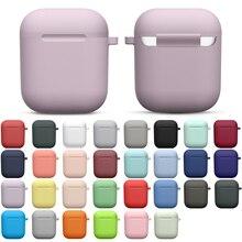 Siliconen Gevallen Met Haak Cover Voor Apple Airpods 1/2 Beschermende Shockproof Draadloze Oortelefoon Cover Voor Airpods 2 1 Case Box tassen