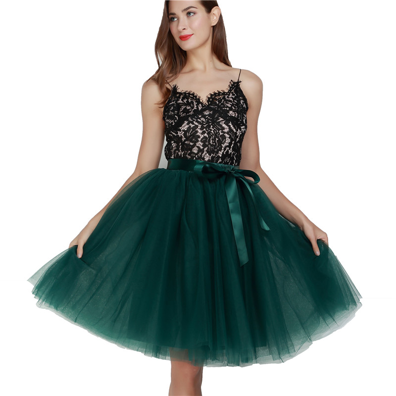 5 Layers 65cm Midi Tulle Skirt Princess Pleated Dance Tutu Skirts Womens Lolita Petticoat Jupe Saia Faldas Denim Party Skirts