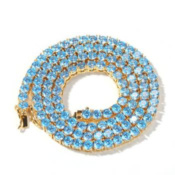 Zciti Cz Tennis Chain 4mm Pink Blue Cubic Zirconia Bling Full Iced Out Necklace Fashion Rock HipHop Jewelry