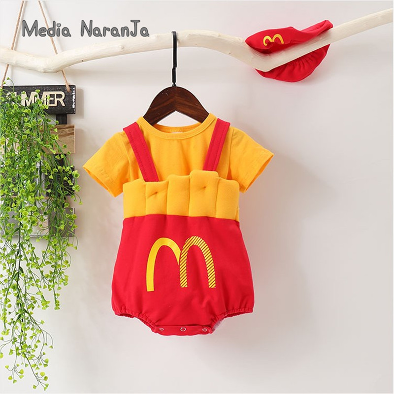 INS Baby Photo Clothing McDonald's Fries Baby Clothes Bodysuit+ Hat + T-shirt Infant Funny Costume