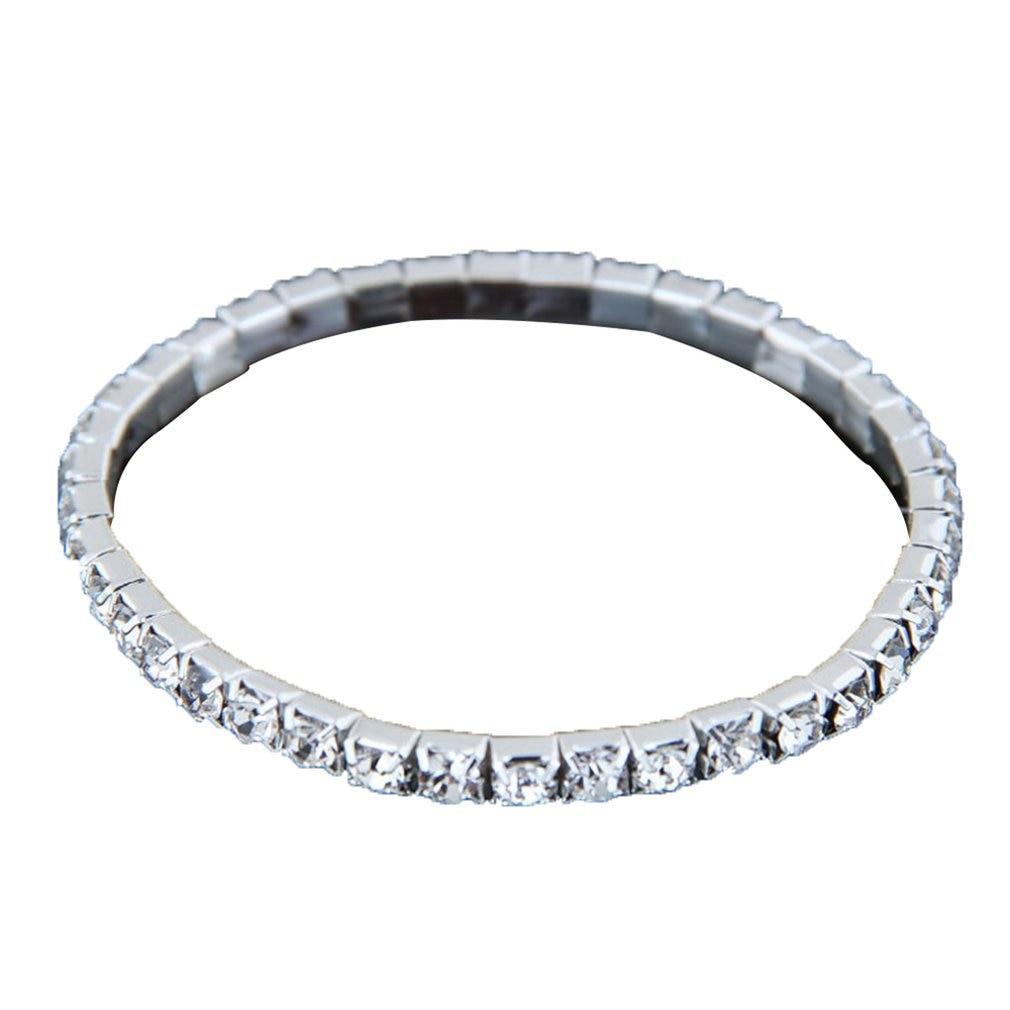 Bridal Jewelry Crystal Stretch Bracelet Multi-Row Diamond Bracelet Multilayer Flash Diamond Silver Anklet Chain
