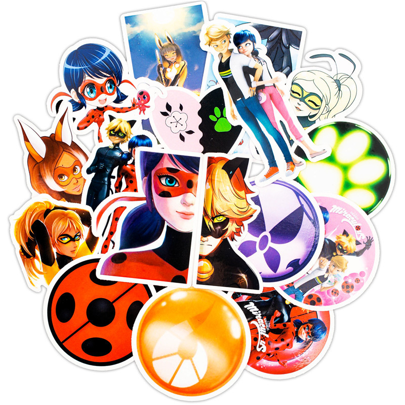 50pcs Ladybug Cartoon Toy Stickers For Car Styling Bike Motorcycle Phone Laptop Travel Luggage Cool Sticker Decals