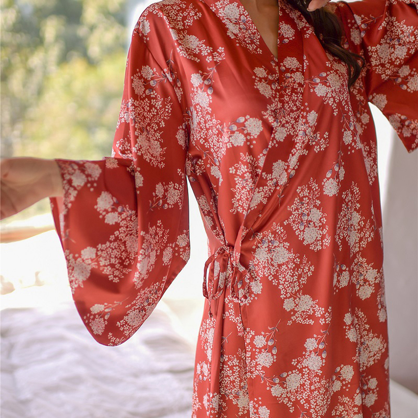 Japanese Style Women Female Original Flower Fantasy Loose Sexy Elegant Kimono Satin Silk Yukata Sleepwear Bathrobe Pajamas