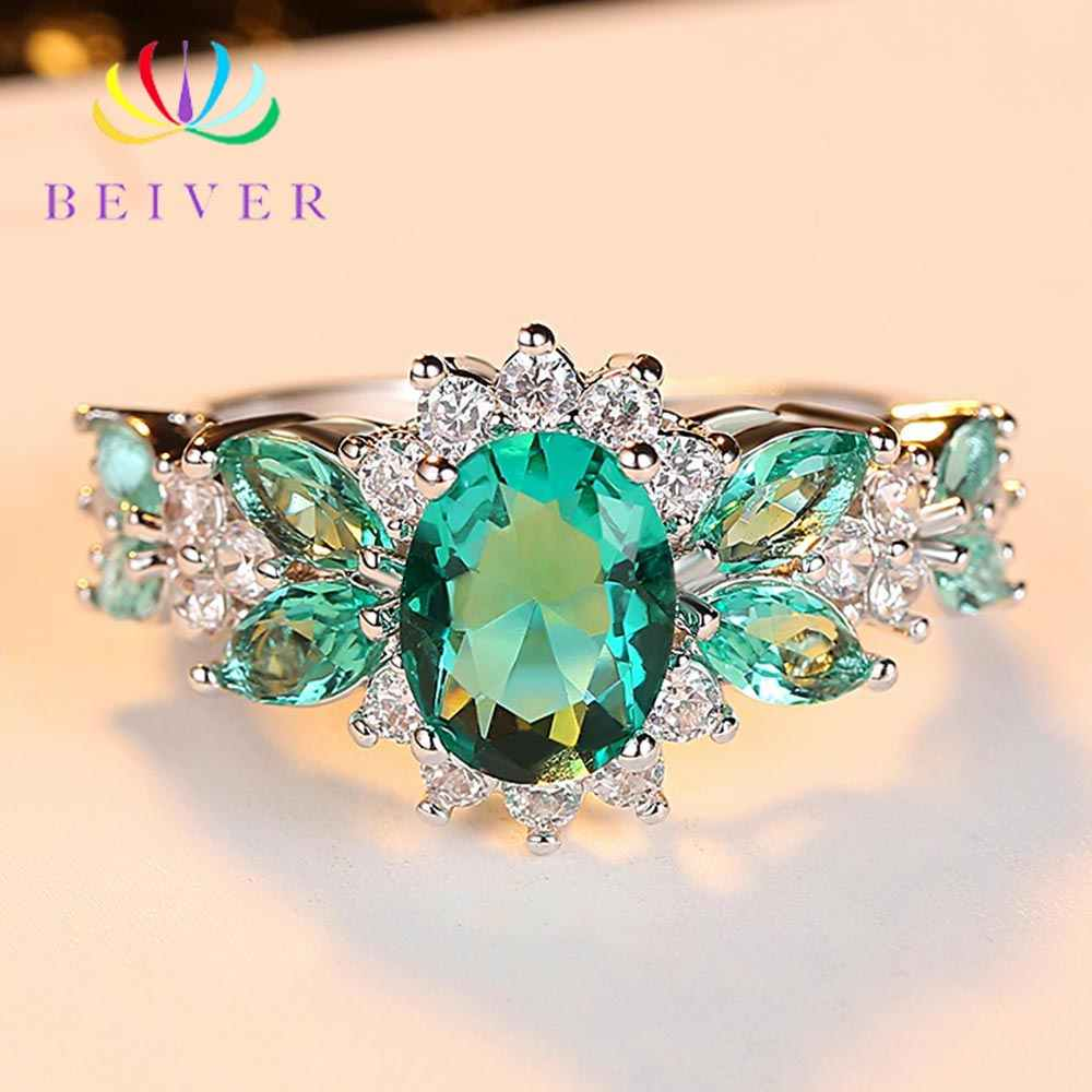 Beiver Trendy Micro Pave Cubic Zirconia White Gold Rings for Women Jewelry Rings Party Decoration Jewelry Making