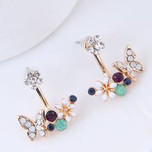 new brincos crystal flower Double Side butterfly shape Earring For Women Gold color Crystal Stud Earrings Jewelry(China)