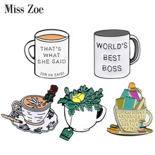 Voulez-vous du café ou du thé? Épingle en émail personnalisé, Badge, tasse, broches, épingle à revers, sac, chemise, livres de plantes, bijoux cadeau
