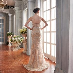 Image 2 - Finove New Design 2020 Mermaid Evening Dresses Tulle With Beading Sexy V Neck Spaghetti Strap Long Formal Dress For Women