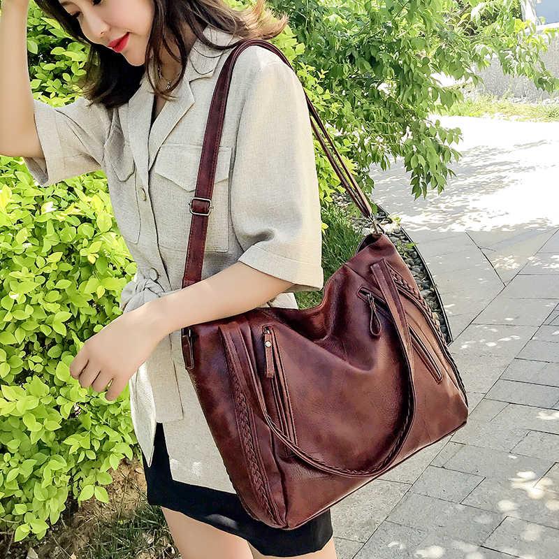 Kualitas Tinggi Merek Baru Lembut Kulit Besar Saku Kasual Tas Tangan Women 'S Tas Tangan Tas Bahu Kapasitas Besar Tas Tangan Hitam Coklat