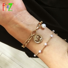 Bangle Bracelets Beaded Gold-Chain Simulated Cross-Charms Pearl Heart-Coin Dropship Gifts