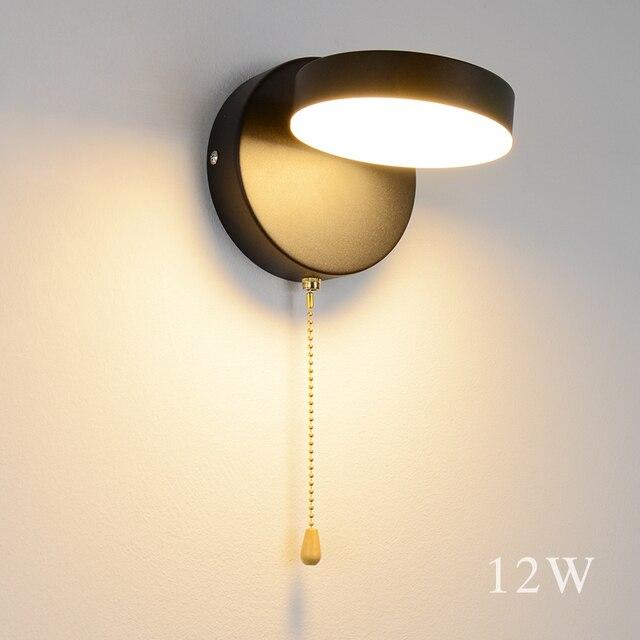 Nordeic LED โคมไฟ 3 สีพร้อมสวิทช์ผนัง 12W สีขาวสีดำในร่มโมเดิร์นสำหรับ Home บันไดห้องนอนข้างเตียง