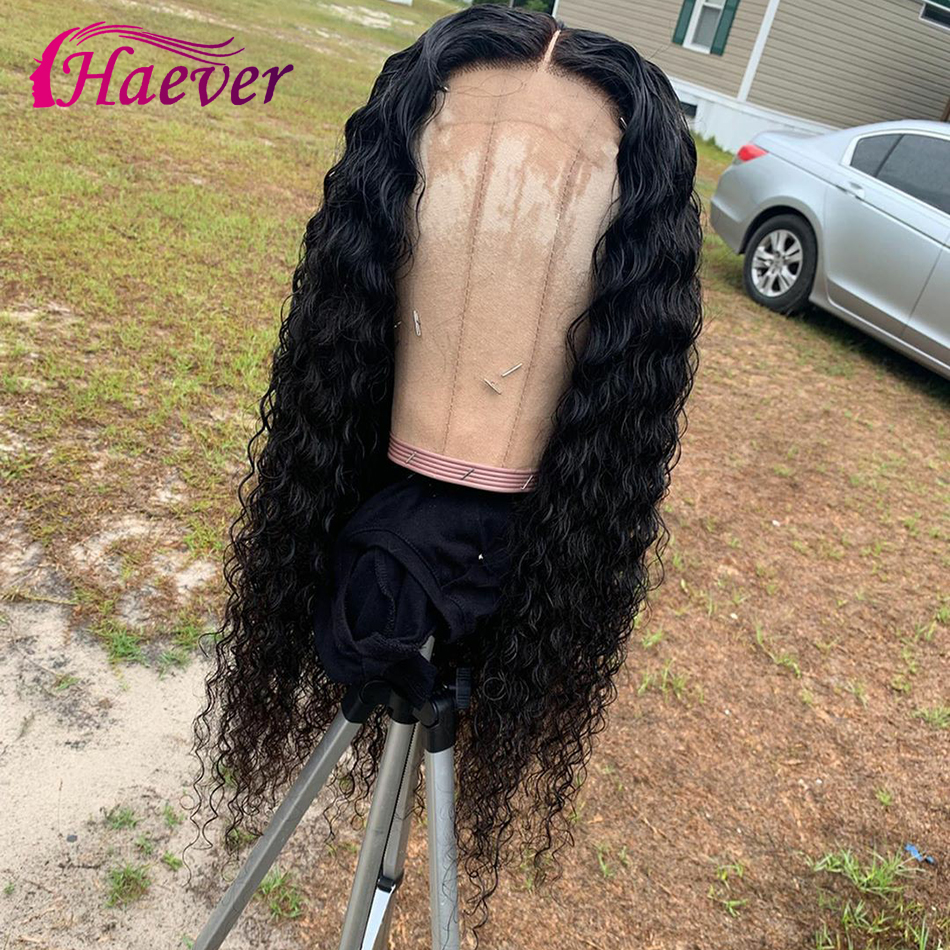 Haever Lace Frontal Wig Deep Wave 13x6 Human Hair Closure Wigs For Black Women Natural PrePlucked Peruvian Remy 150% Virgin Hair