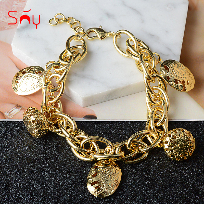 Sunny Jewelry Fashion Jewelry Gold Charm Bracelets For Women Hand Chains Link Chain ball Bracelet High Quality For Party Gift
