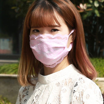 Spring Breathable Mouth Mask Women Lace Cotton Masks Washable Cycling Driving Breathable Reusable Masks Face Cover For Wholesale image