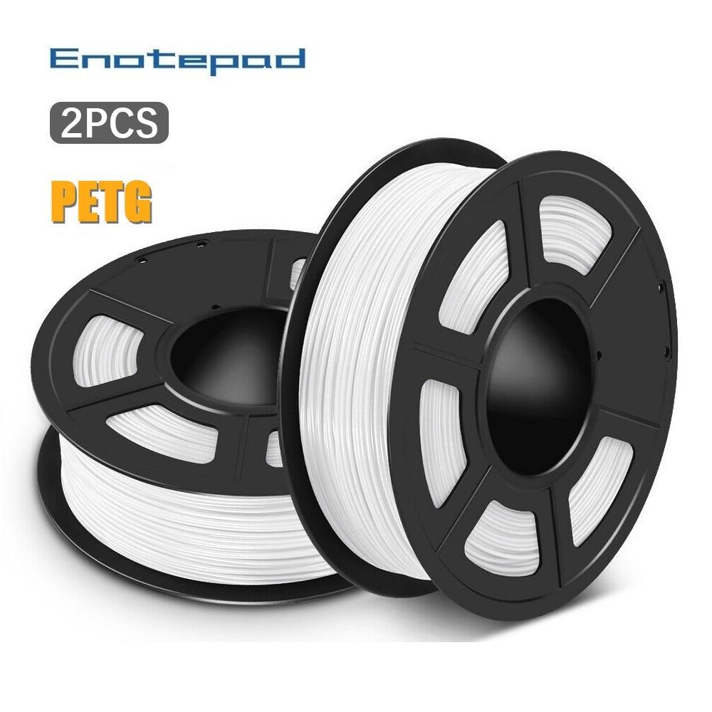 Enotepad PETG 3D filament 1.75mm 1KG 2.2lb PETG 3D Printer Filament with White/Black/Grey Color 1/2 rolls per set