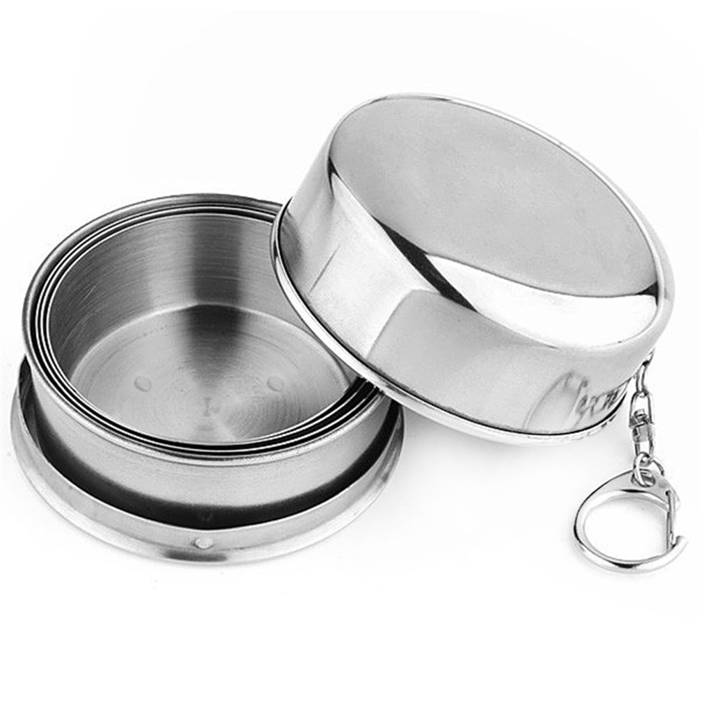 Collapsible Folding Metal Telescopic Cups Excursion Outdoor Travel Camping Stainless Steel Cup Folding Travel Small Cup