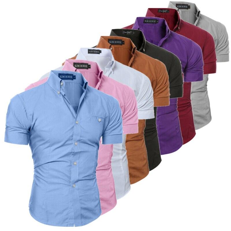 Мужская приталенная рубашка с коротким рукавом стильные официальные топы Мужские повседневные с коротким рукавом пуговицы для рубашки вер...