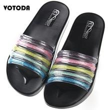 Summer Rainbow Slippers Women Bling Shoes Flat Soft Non Slip Home  Flip Flops Ladies Beach Sandals Jelly Slides Outdoor Slippers