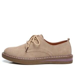 Image 4 - פרה זמש עור נשים דירות אוקספורד נעלי אביב גבירותיי מקרית סניקרס נעלי נעל 2018 מוקסין בתוספת גודל סתיו סירת נעליים