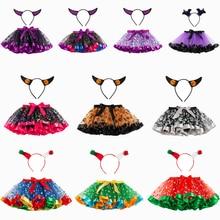 Cute Pumpkin Bat Elf Costume Cosplay Skirt For Girls Halloween Kids Carnival Performance Dress Up Children Suit