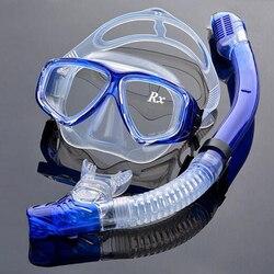 طقم معدات الغوص البصرية قصر النظر مجموعة الغطس بأنبوب التنفس ، قوة مختلفة لكل عين ، قناع غوص جاف قصير النظر