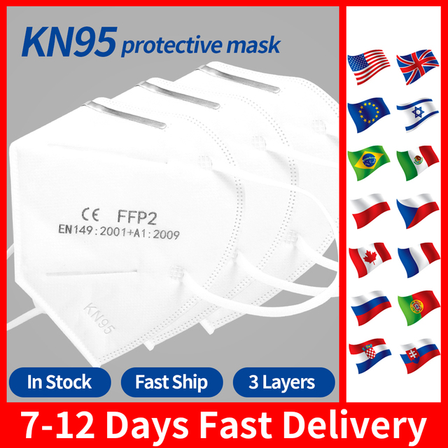 Kn95 Face Masks FFP2 Protective Mask 99% Filtration Anti Flu Mouth Mask Adults Filter Breathing Protective mask N95