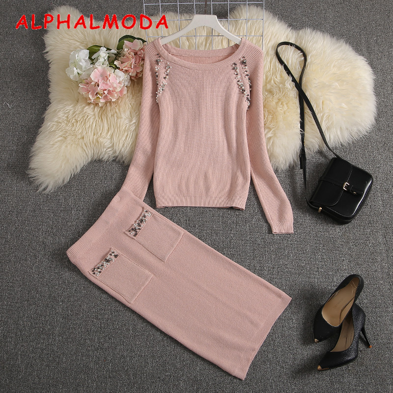 ALPHALMODA 2019 Winter New Women Knitting Suit Beaded Decored Luxury Brands Design Knitting Sweater + Pencil Skirt 2pcs Set