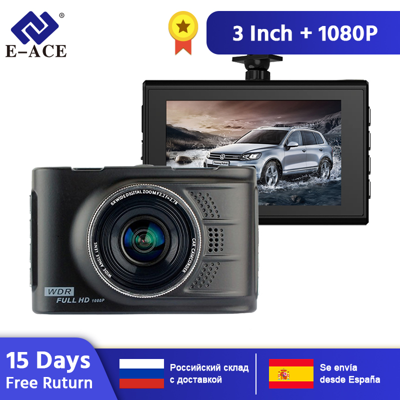 E-ACE <font><b>Car</b></font> <font><b>Dvrs</b></font> Mini Camera Novatek 96223 Dash Cam 3.0 Inch Full HD 1080P Auto Registrator Digital Video Recorder Camcorder image