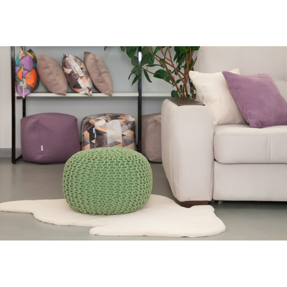 Braid-poof Banquette Delicatex Knitted Green