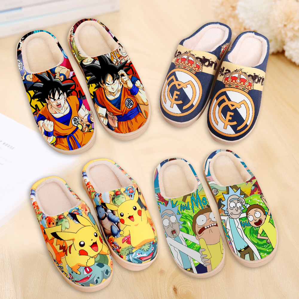 Indoor Slippers Dragon Ball Z Rick And Morty Japanese Anime Children Men Shoes House Home Plush  Furry Women Slides For Kids Boy