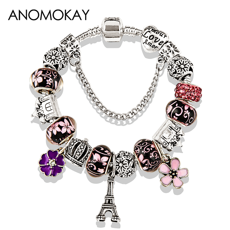2019 Antique Silver Color Eiffel Tower Charm Bracelet Pink Red Crystal Flower Bead Bracelets & Bangles for Women Jewelry Gift(China)
