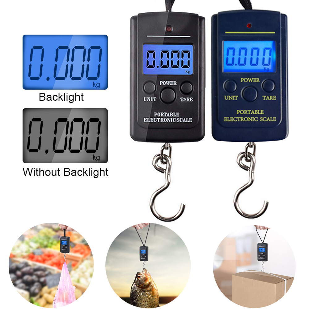 Portable Digital Scale 40 Kg Mini Scale Digital Fishing Luggage Travel Electronic Scale Weighting Attachment Hook Black HOt