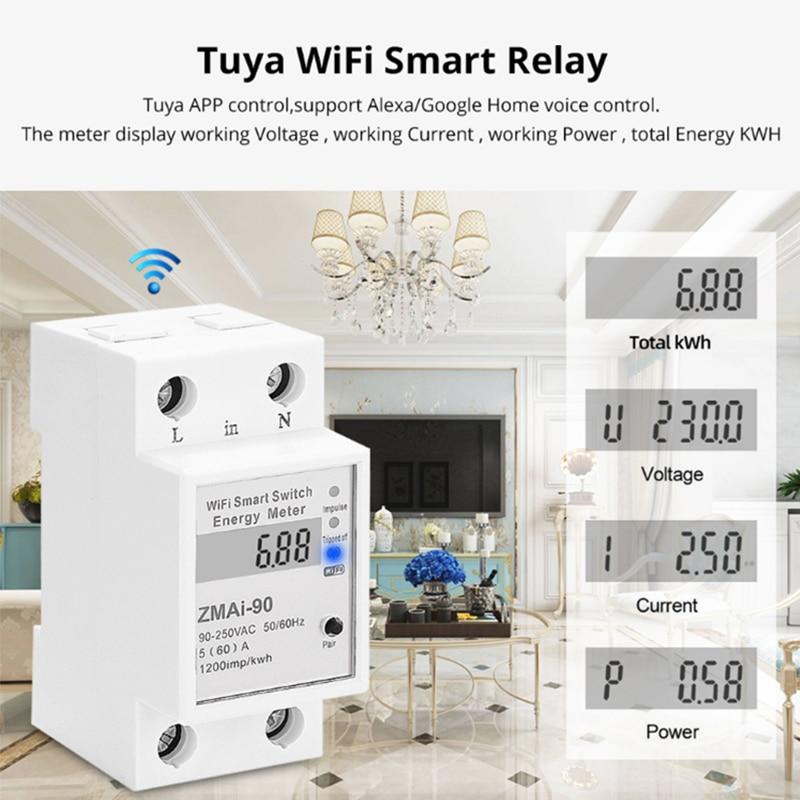 5(60) Wi-Fi кВтч метр Цифровой потребление электроэнергии киловатт-DIN Rail умный измеритель энергии, Wi-Fi, Мощность метр