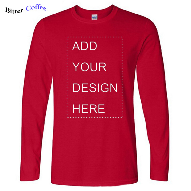Big Sale½Casual T-Shirt Mens Clothing Women Custom Cotton Tees Tops Long-Sleeve Your-Own-Design