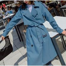 Autumn 2020 Turn-down Collar Women's Trench Adjustable Waist Blue Long Sleeve Casual Trench Coat Female Fashion Ladies lapel collar adjustable sleeve trench coat