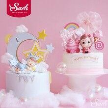 Chupete de resina para decoración de cochecito de bebé, piruleta para tarta de feliz cumpleaños, suministros para fiesta de boda, regalos de amor rosa